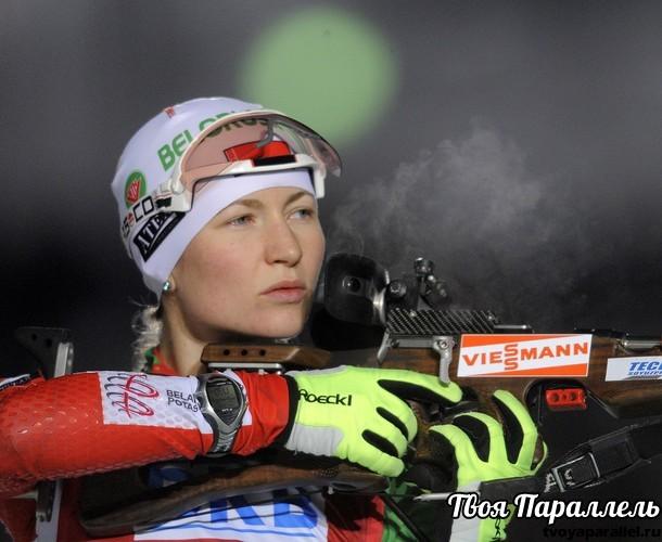 Darya Domracheva of Belarus competes at