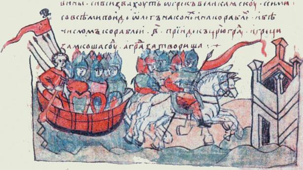 Картинки по запросу Княжеские стяги князей Олега и Святослава